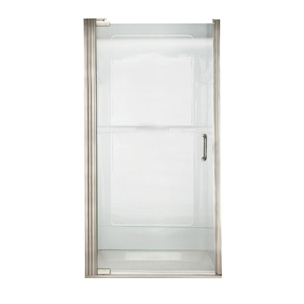 American Standard Euro 33.6 in. x 65.6 in. Semi-Frameless Continuous Hinged Shower Door in Brushed Nickel with Clear Glass and D Handle