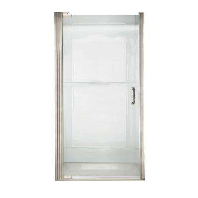 Euro 33.6 in. x 65.6 in. Semi-Frameless Continuous Hinged Shower Door in Brushed Nickel with Clear Glass and D Handle
