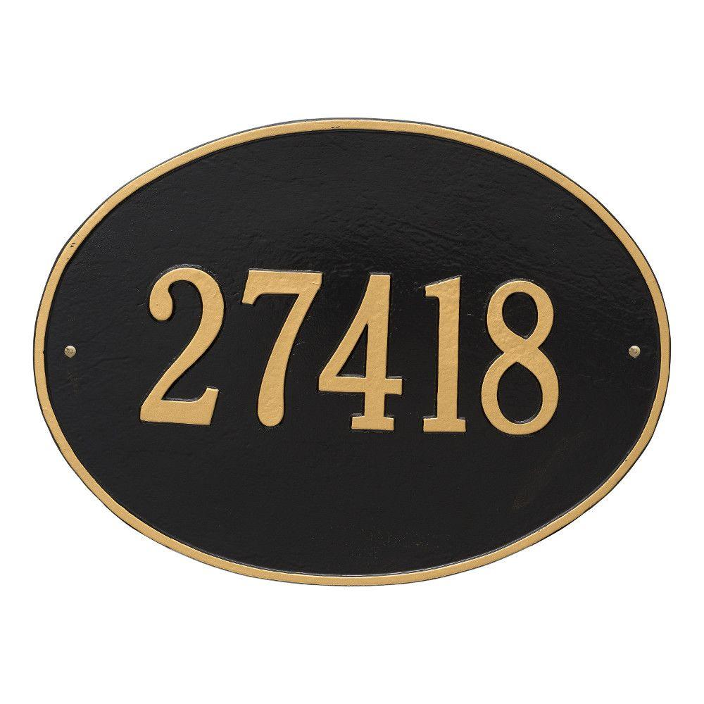 Hawthorne Estate Oval Black/Gold Wall 1-Line Address Plaque