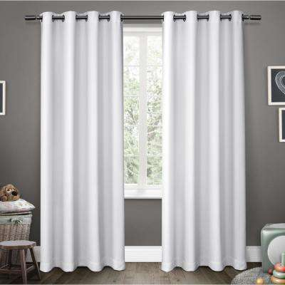 Sateen Kids 52 in. W x 96 in. L Woven Blackout Grommet Top Curtain Panel in Winter White (2 Panels)