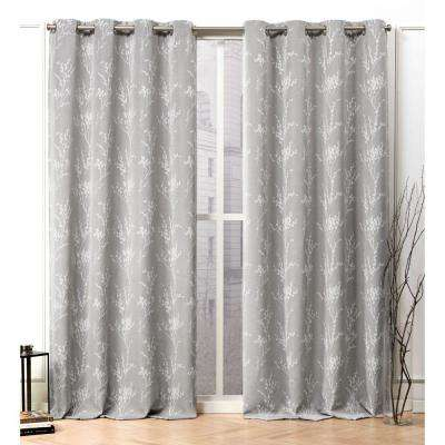 Turion Ash Grey Blackout Grommet Top Curtain Panel - 52 in. W x 96 in. L (2-Panel)