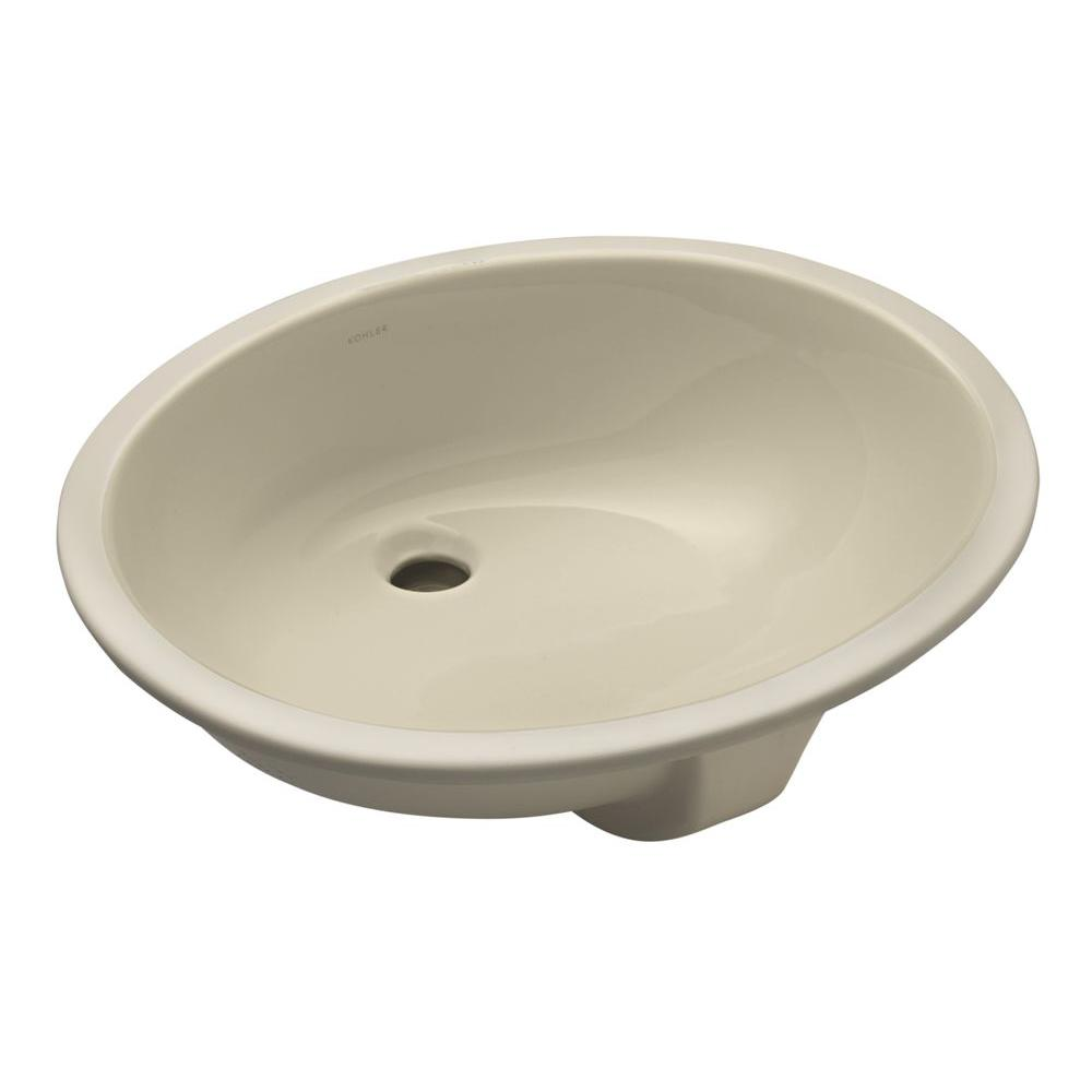 Caxton Vitreous China Undermount Bathroom Sink in Almond with Overflow Drain