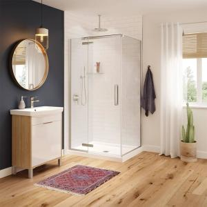 Hana 42 in. x 34 in. x 75 in. Frameless Rectangular Pivot Shower Door in Brushed Nickel