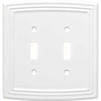 Emery Decorative Double Light Switch Cover, Pure White
