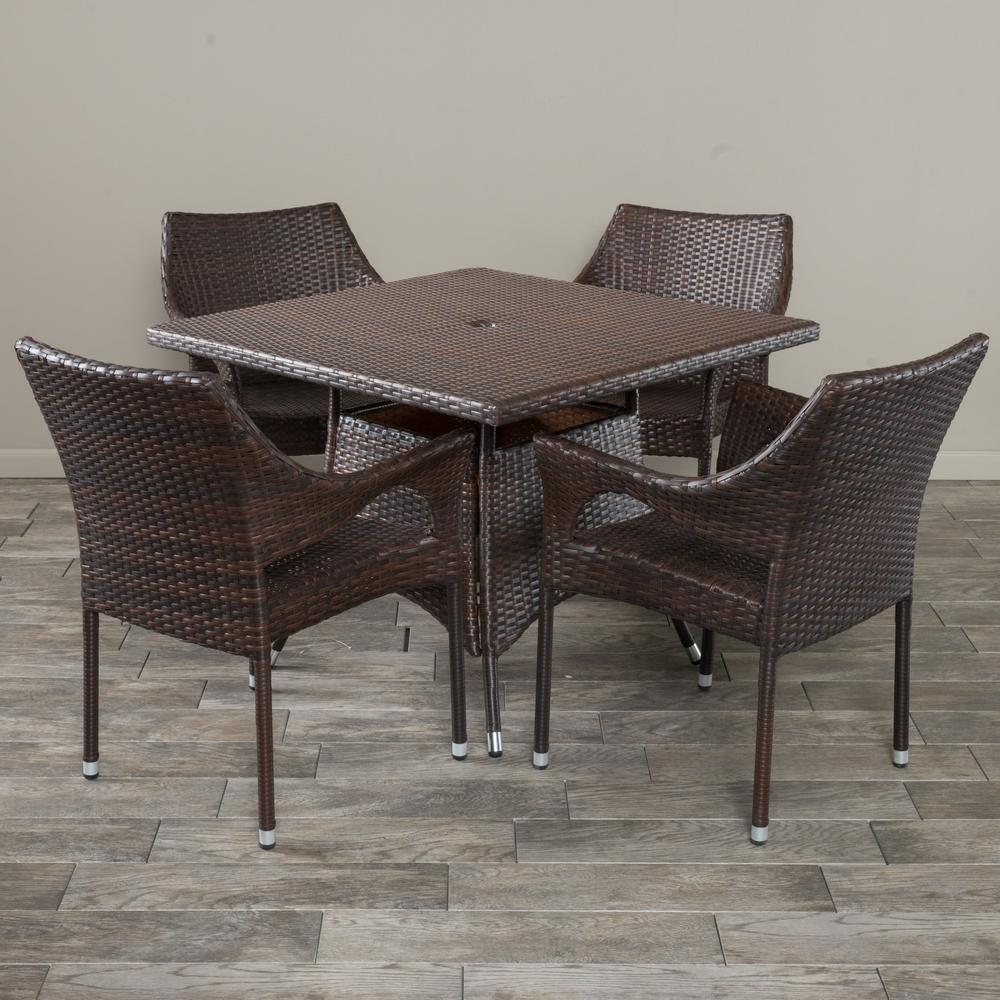 Noble House Cayden Multibrown 5 Piece Wicker Square