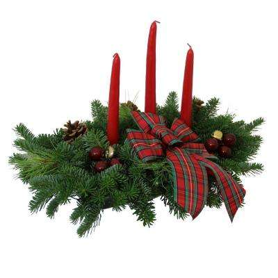 Balsam Highland 3 Candle Centerpiece: Multiple Ship Weeks Available