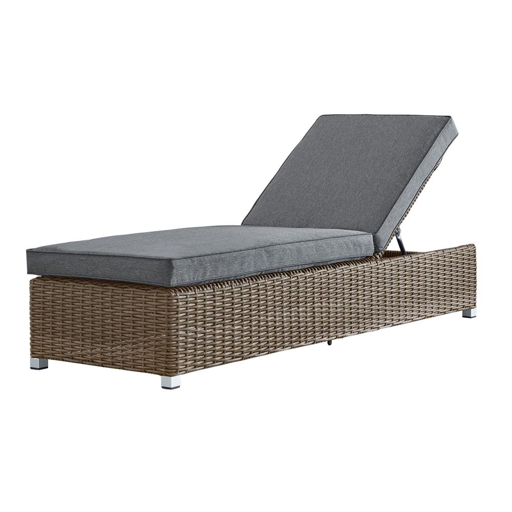 Camari Mocha Wicker Adjustable Outdoor Chaise Lounge Chair with Gray Cushion