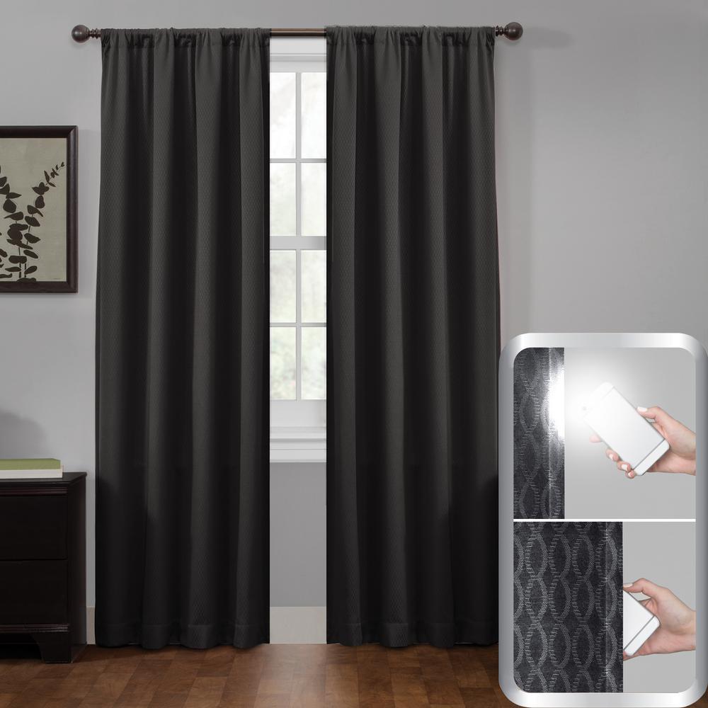 Black Certified 100% Blackout Jamie Smart Curtain Window Curtain Panel 50 in. W x 84 in. L