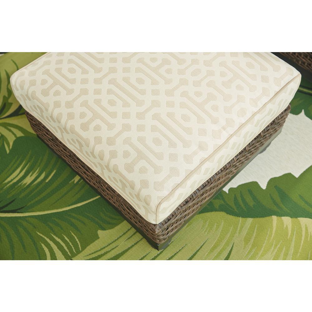 Camden Dark Brown Wicker Outdoor Ottoman with Sunbrella Fretwork Flax Cushion