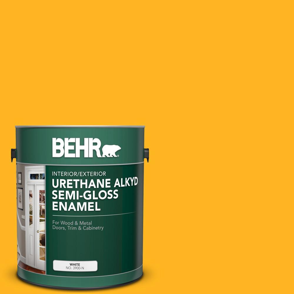 1 gal. #P260-7 Extreme Yellow Urethane Alkyd Semi-Gloss Enamel Interior/Exterior Paint