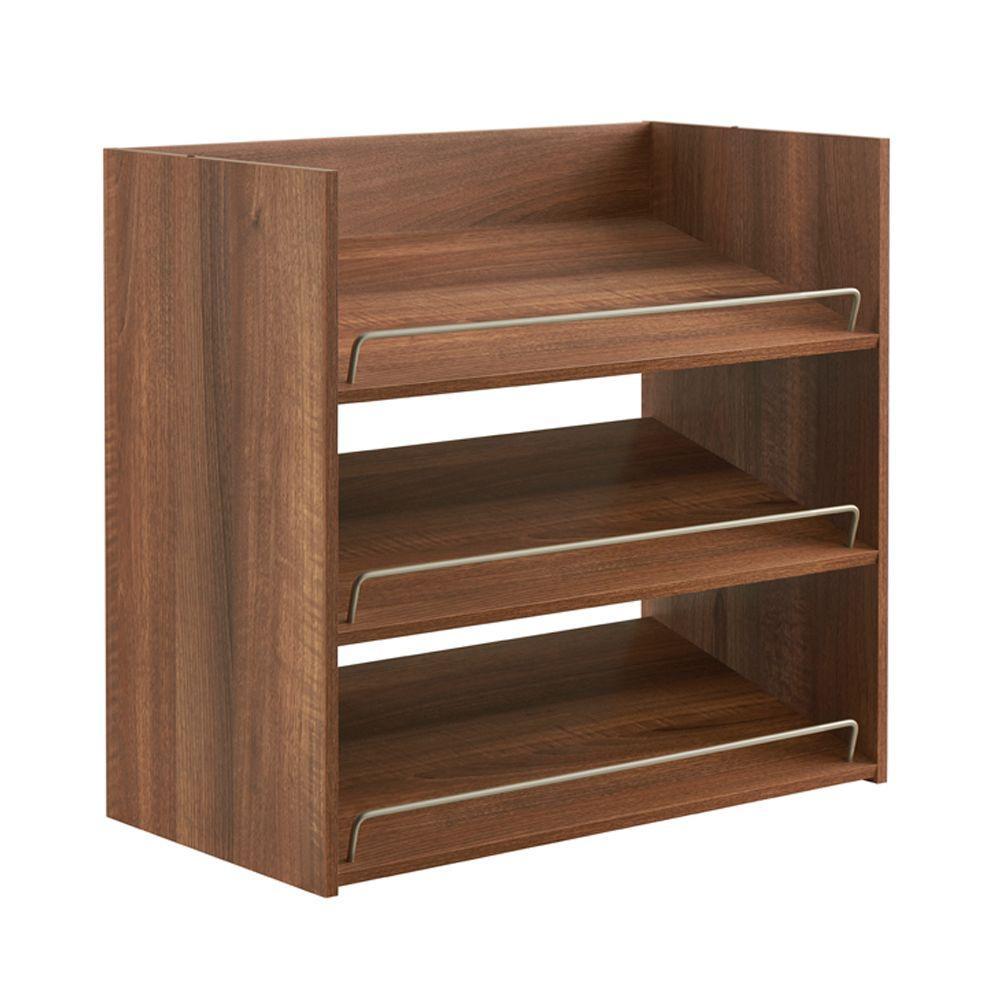 Impressions 3-Shelf Shoe Organizer in Walnut