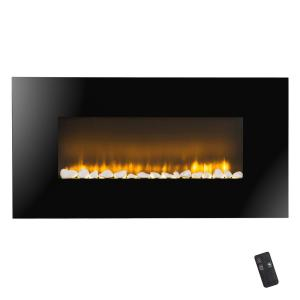 AKDY 37 inch Wall Mount Electric Fireplace Heater in Black with Flat Tempered Glass, Logs and Remote Control by AKDY
