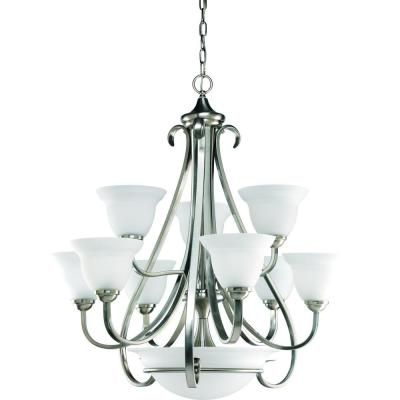 Torino 9-Light Brushed Nickel Chandelier with Etched Glass Shade