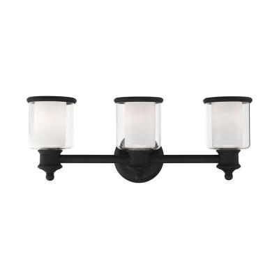 Middlebush 5.5 in. 3-Light Black Vanity Light with Clear Outer Glass and Frosted Inner Glass Shade