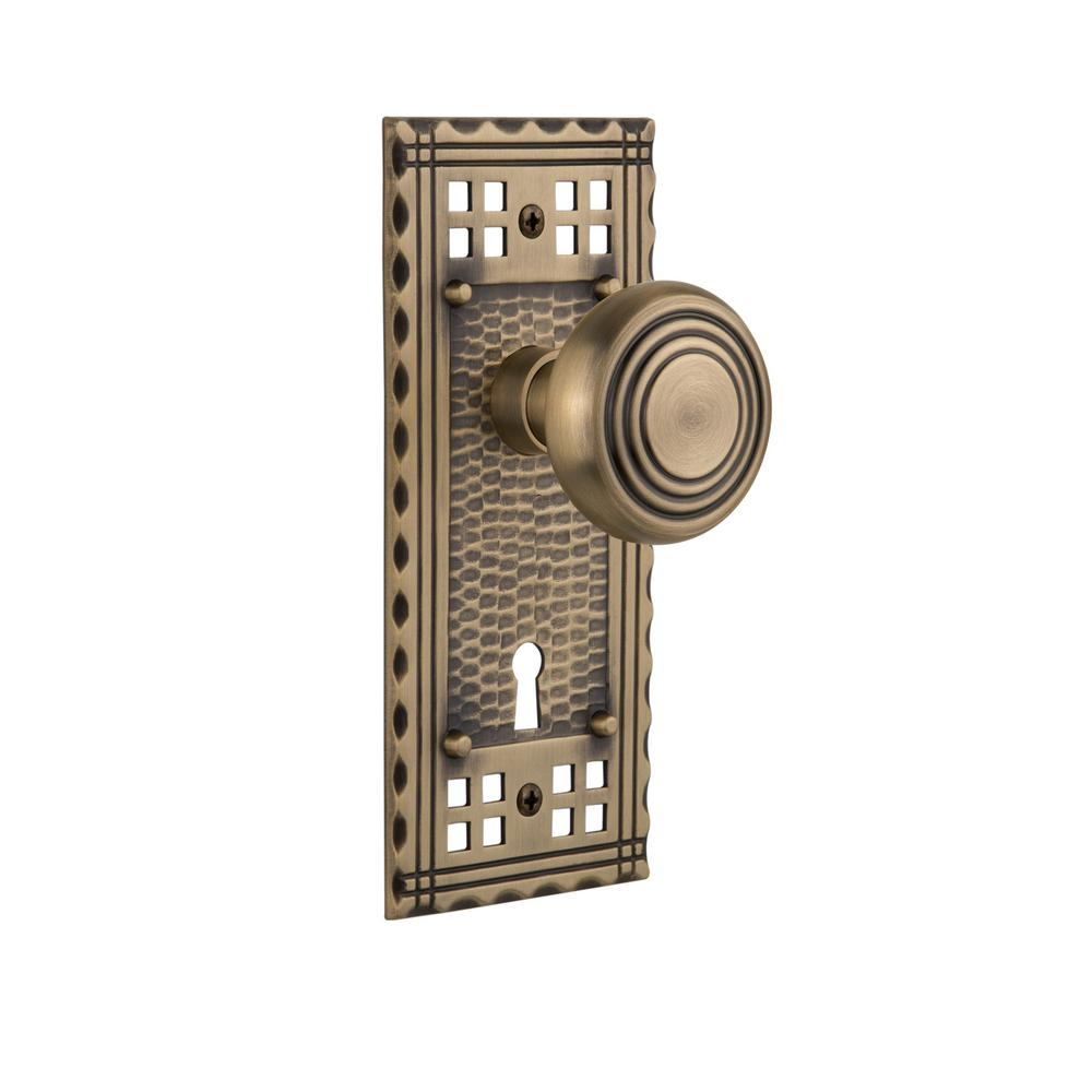 Craftsman Plate with Keyhole 2-3/8 in. Backset Antique Brass Passage Deco Door Knob