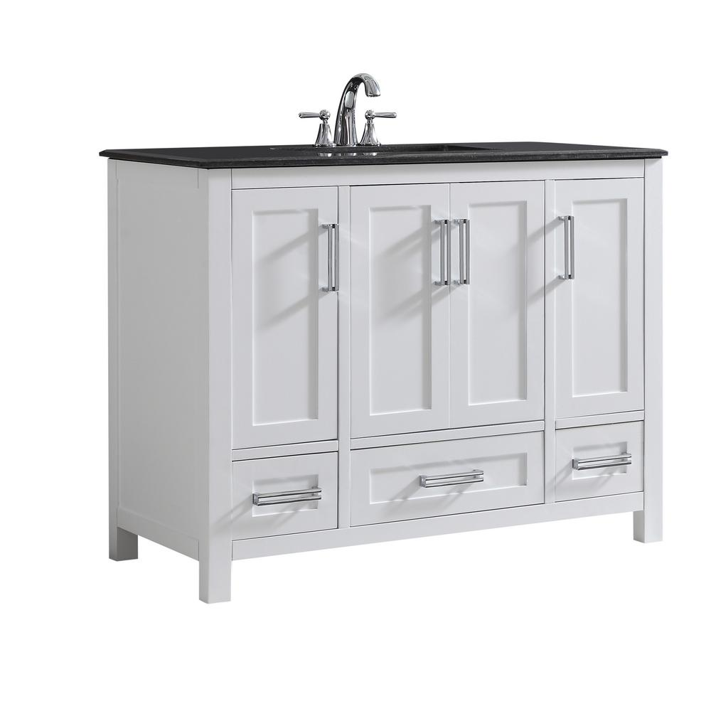 Simpli Home Evan 42 In W X 21 5 In D X 34 5 In H Vanity In White With Granite Vanity Top In