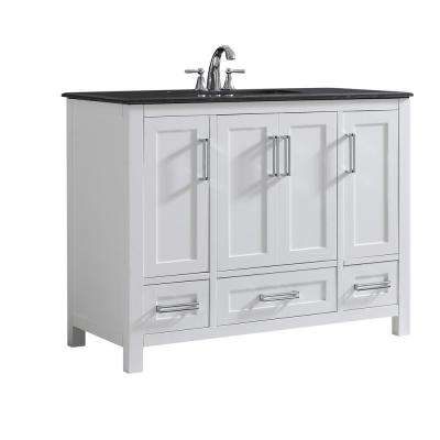 Evan 42 in. W x 21.5 in. D x 34.5 in. H Vanity in White with Granite Vanity Top in Black with White Basin