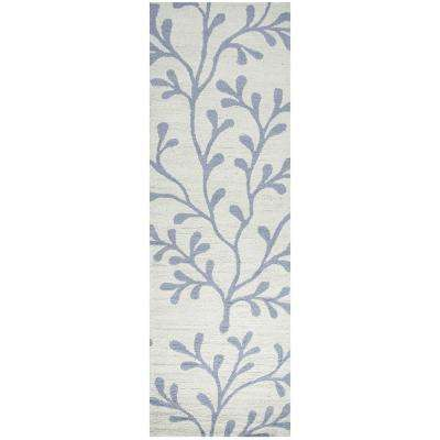 Azzura Hill Ivory Floral 3 ft. x 8 ft. Outdoor Runner Rug