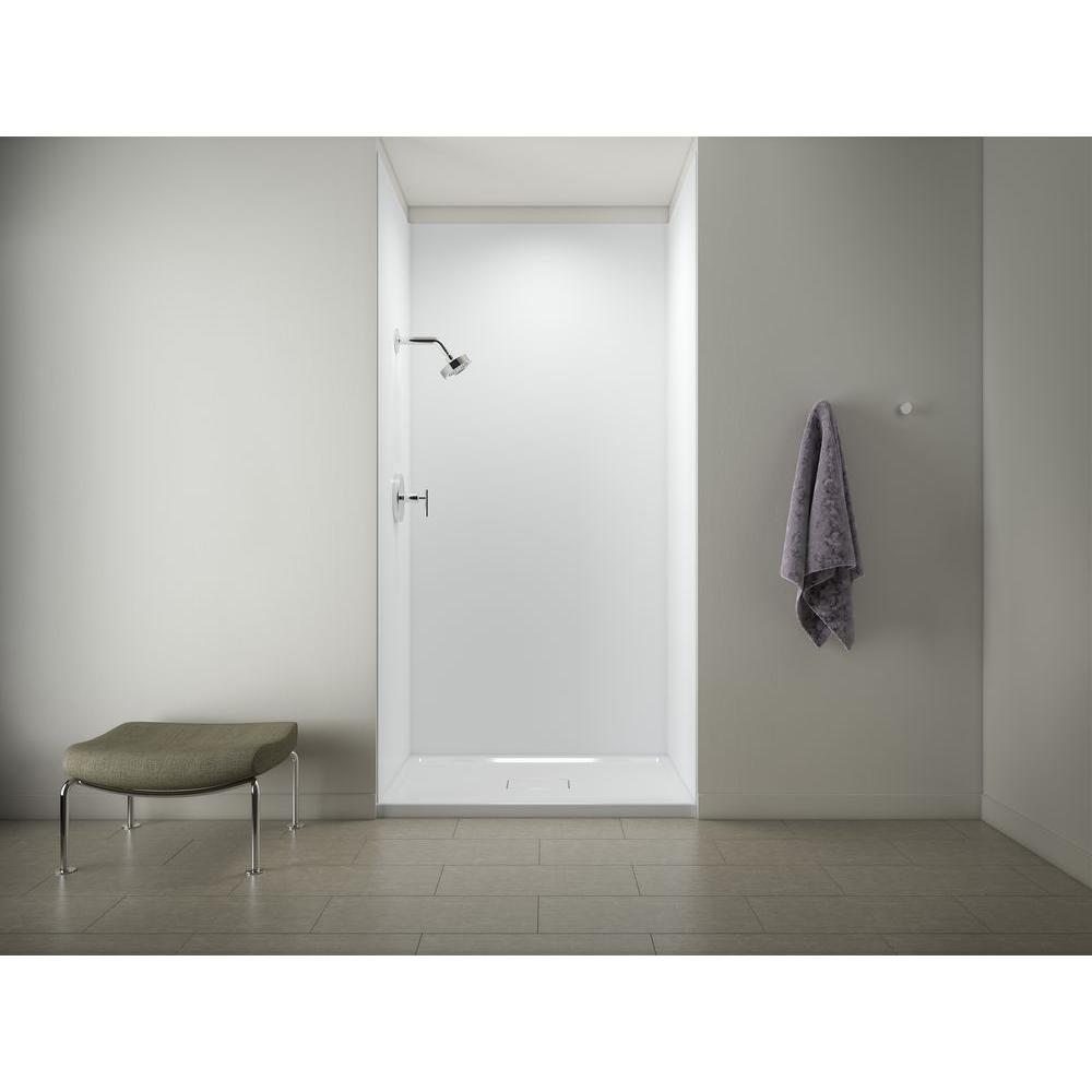 KOHLER Archer 48 in. x 36 in. Shower Base in White with Choreograph 96 in. 5-Piece Bath/Shower Wall Surround in White