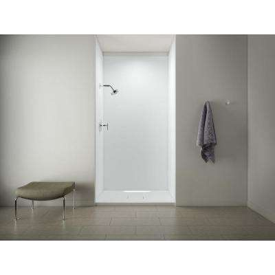 Archer 48 in. x 36 in. Shower Base in White with Choreograph 96 in. 5-Piece Bath/Shower Wall Surround in White
