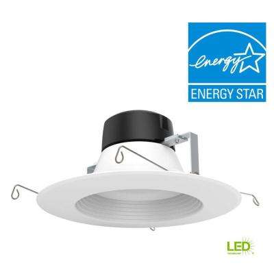 5 in. /6 in. 100-Watt Equivalent White Integrated LED High Ceiling Recessed Baffle Trim, 5000K, 93 CRI