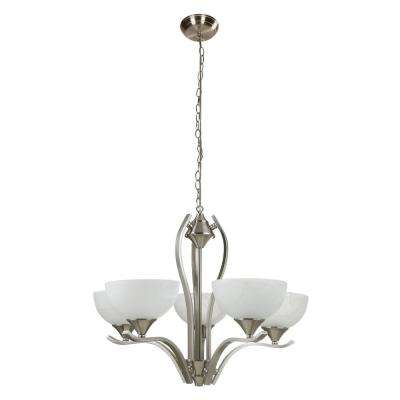 Bisbee 5-Light Satin Nickel Chandelier with White Marble Glass Shade