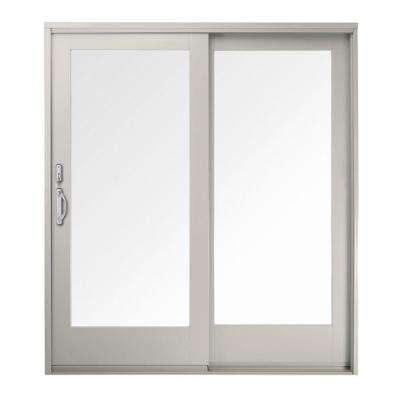 60 in. x 80 in. 400 Series Frenchwood White Right-Hand Sliding Patio Door, Pine Interior, Low-E SmartSun Glass