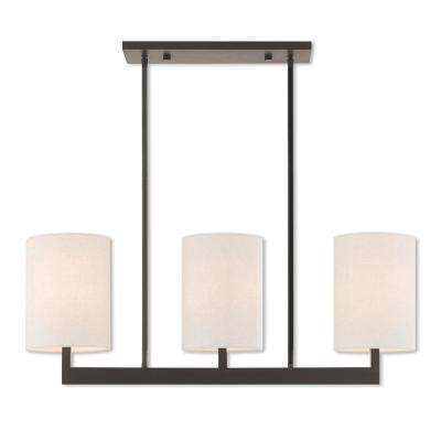 Hayworth 3-Light Bronze Linear Chandelier with Oatmeal Color Fabric Outside and White Fabric Inside Hardback Shade