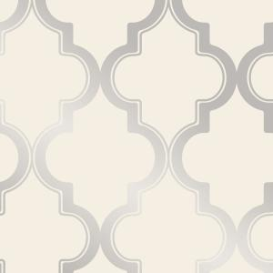 Marrakesh Cream & Metallic Silver Peel and Stick Wallpaper 28 sq. ft.