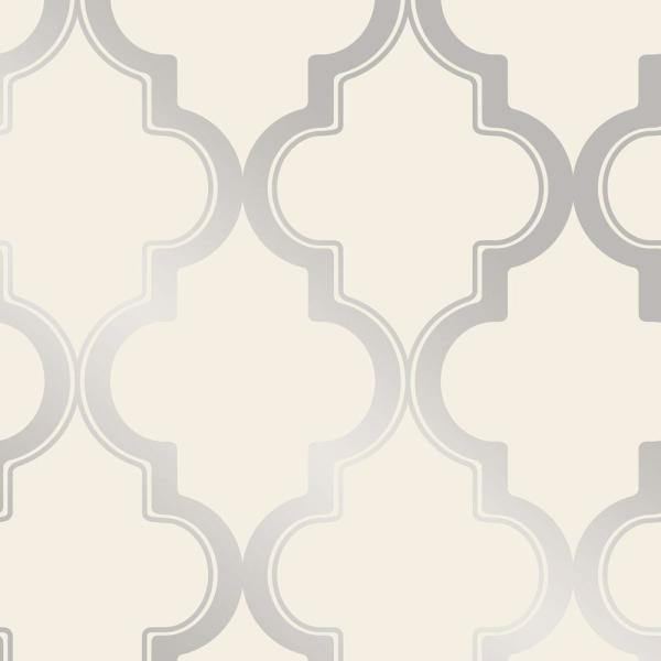 Tempaper Marrakesh Cream Metallic Silver Vinyl Peelable Roll Covers 28 Sq Ft Ma10634 The Home Depot
