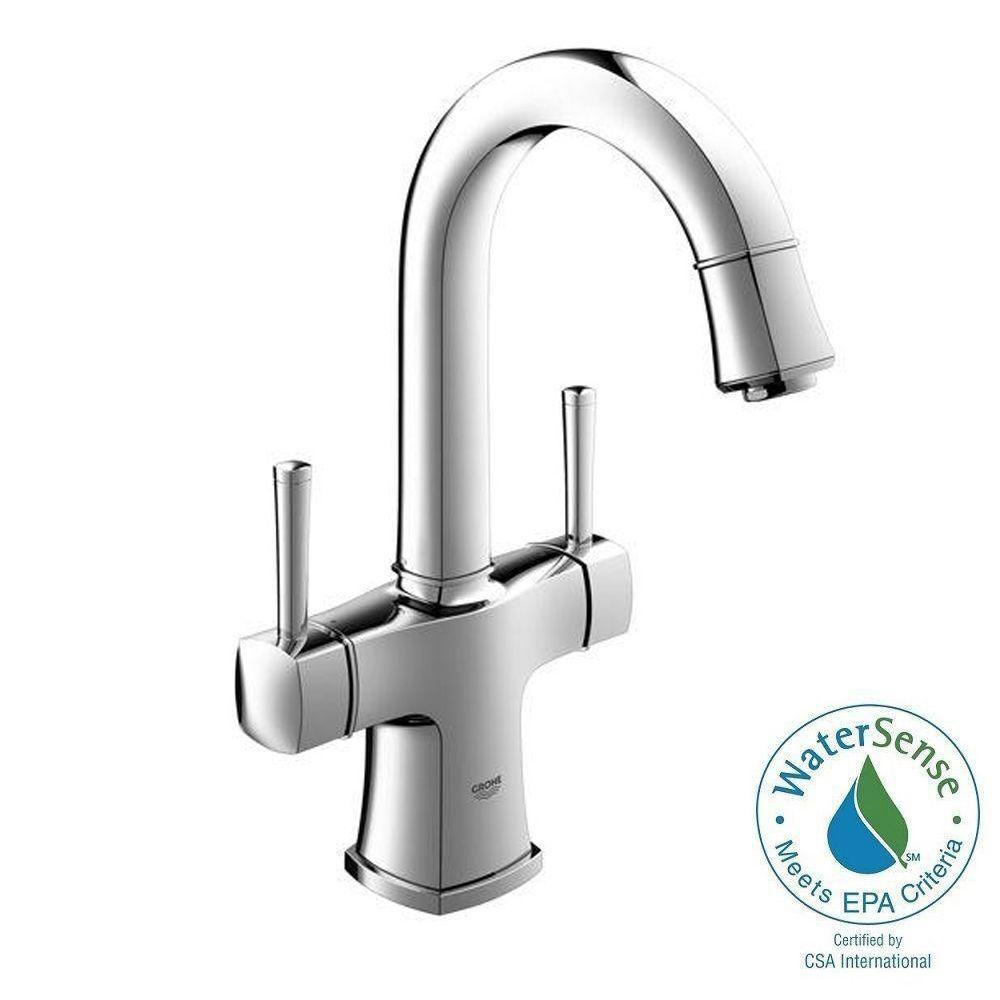 grohe grandera single hole 2-handle bathroom faucet in starlight