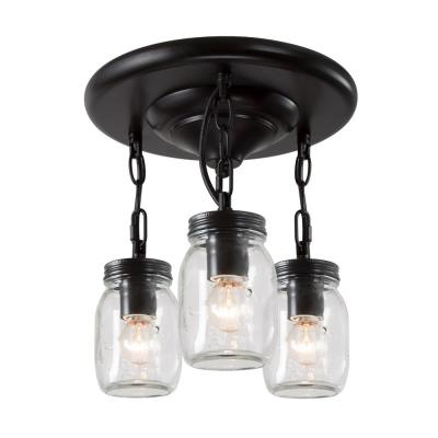 Towneri 11 in. 3-Light Oil Rubbed Bronze Semi-Flush Mount Ceiling Light with Clear Mason Jar Glass Shades