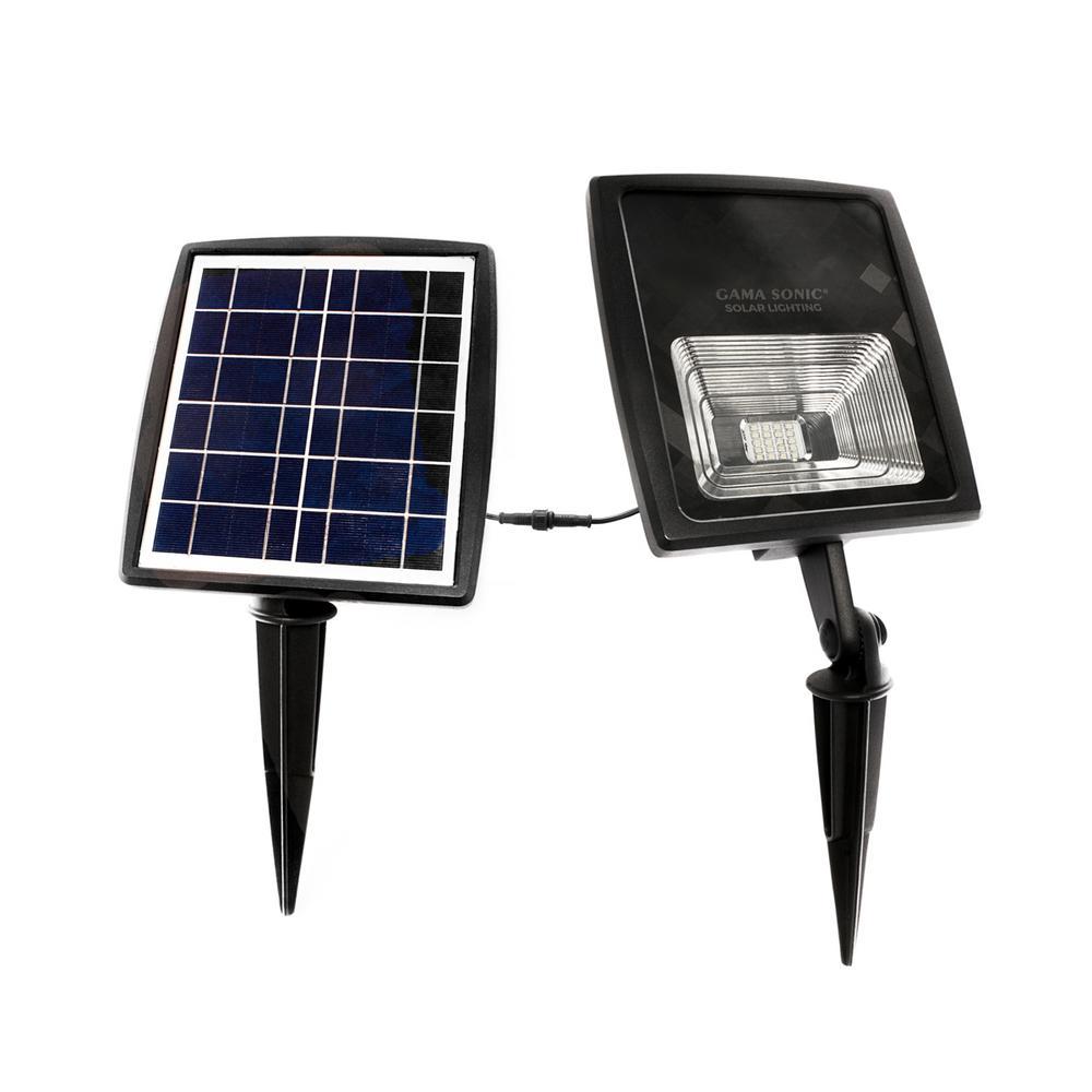 Solar Flood Light 2-Watt Black Solar Powered Integrated LED Landscape Flood Light with Warm White
