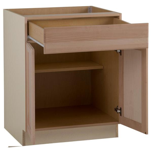 Hampton Bay Easthaven Shaker Assembled 27x34 5x24 In Frameless Base Cabinet With Drawer In Unfinished Beech Eh2735b Gb The Home Depot