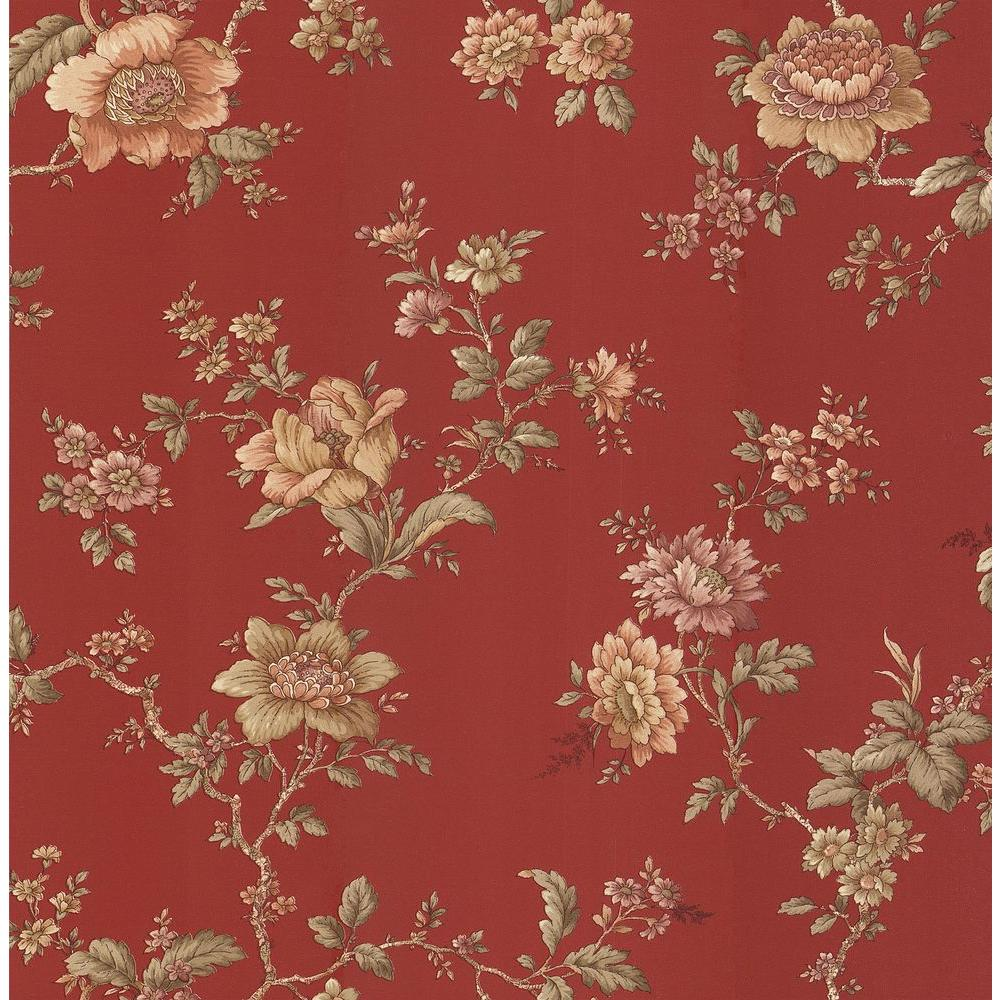 Brewster Madison Red Jacobean Floral Wallpaper Sample 282