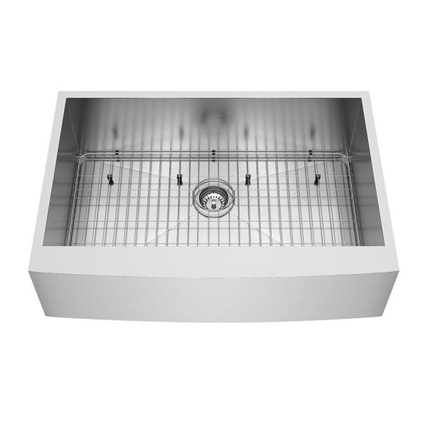 Camden Stainless Steel 33 in. Single Bowl Farmhouse Apron-Front Kitchen Sink with Strainer and Stainless Steel Grid