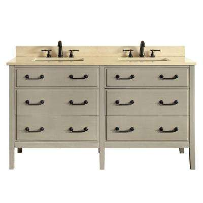 Delano 61 in. W x 22 in. D x 35 in. H Vanity in Taupe Glaze with Marble Vanity Top in Galala Beige with White Basin