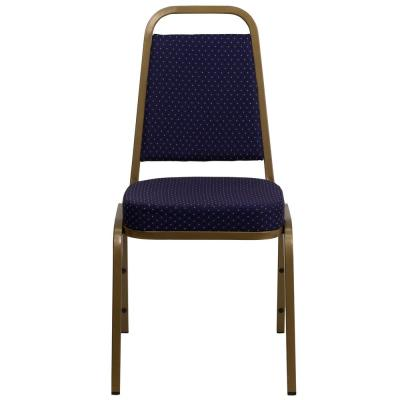 Navy Patterned Fabric/Gold Frame Stack Chair