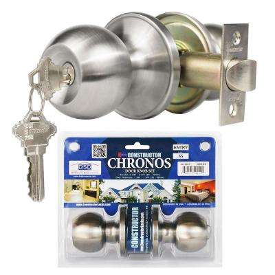 Stainless Steel Finish Entry Door Knob Set