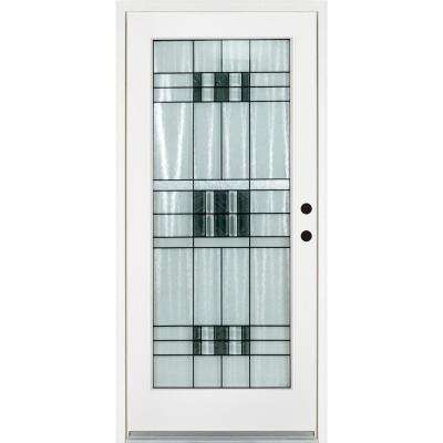 36 in. x 80 in. Savana Smooth White Left-Hand Inswing Full 1 Lite Decorative Fiberglass Prehung Front Door