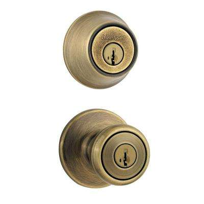 Tylo Antique Brass Entry Door Knob and Single Cylinder Deadbolt Combo Pack Featuring SmartKey Security
