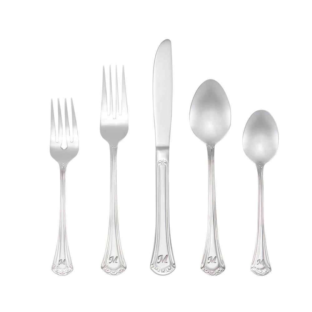 Excelsior Monogrammed Letter M 46-Piece Silver Stainless Steel Flatware Set