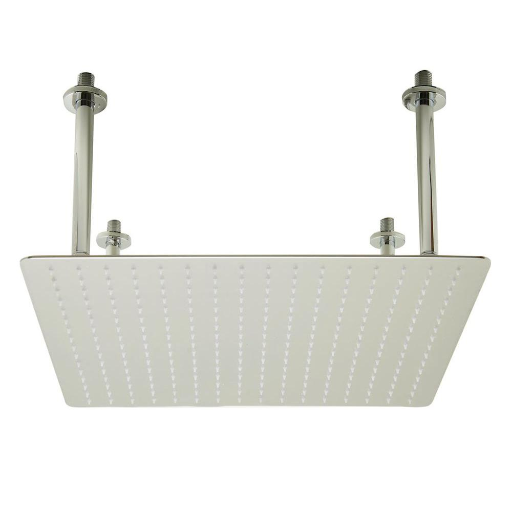 Ultra Thin Ceiling Mount Square Rain 1-Spray 20 in. Fixed Shower ...
