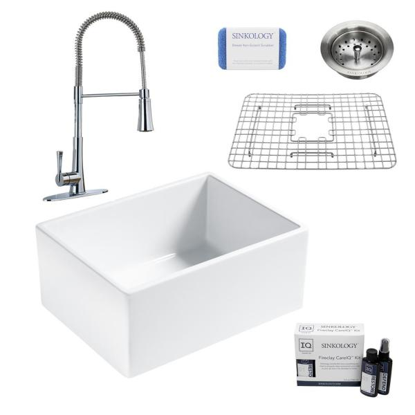 Wilcox II All-in-One Farmhouse/Apron-Fireclay 24 in. Single Bowl Kitchen Sink with Pfister Faucet and Strainer