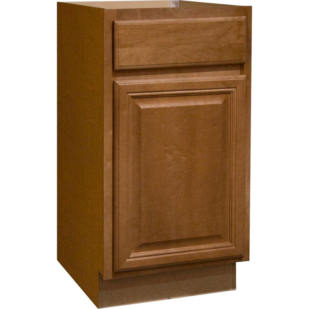 HAMPTON BAY Cambria Assembled 18x34.5x24 in. Base Kitchen Cabinet with Ball-Bearing Drawer Glides in Harvest