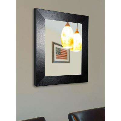 33 in. x 39 in. Ebony Black Wide Leather Non Beveled Floor Wall Mirror