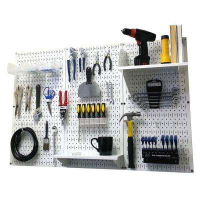 32 in. x 48 in. Metal Pegboard Standard Tool Storage Kit with White Pegboard and White Peg Accessories