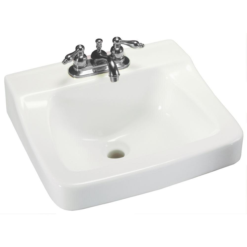 Glacier Bay Aragon Wall Mounted Bathroom Sink In White