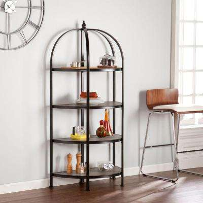 Peachtree 4-Shelf Rotunda Bookcase in Matte Black with Burnt Oak Shelves
