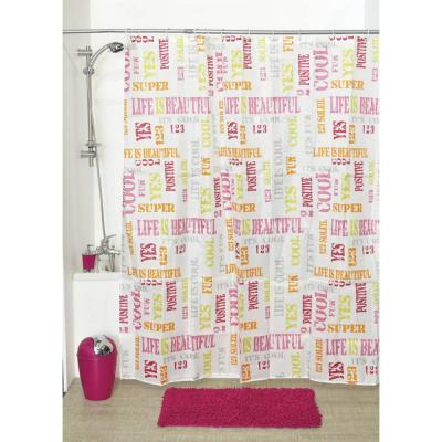 79 in. Printed Shower Curtain Set Polyester Fabric + 12 White Shower Rings Life is Beautiful